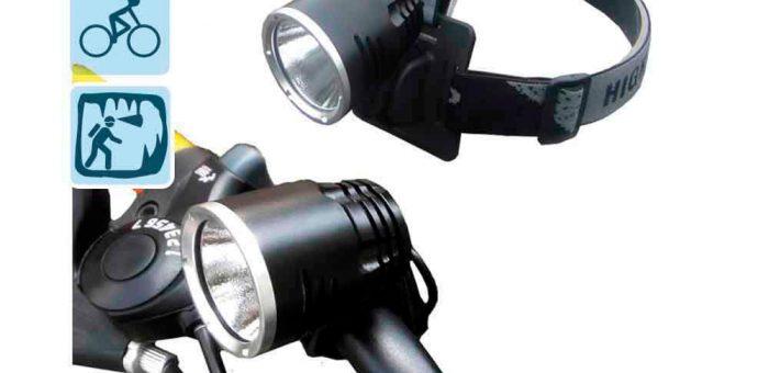 LINTERNA RECARGABLE CON DOBLE FUNCIÓN cabeza y bicicleta con súper led de 10w