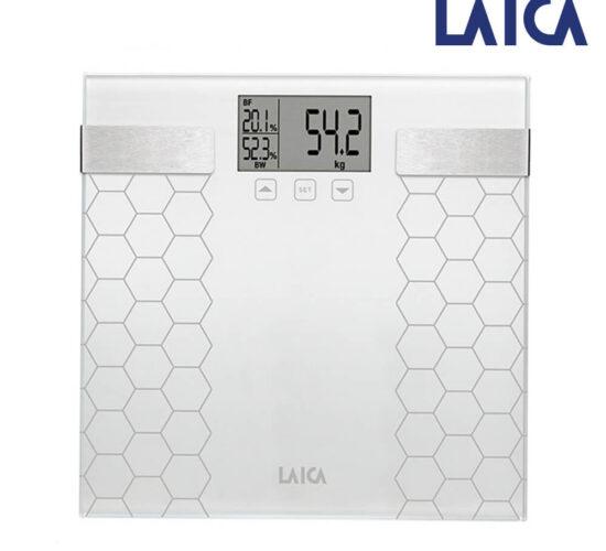 Bascula de baño digital con calculo de la composición corporal color blanco 180kg ps5014 Laica