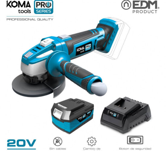 Kit amoladora 20v koma tools pro series con 1 bateria 4.0 ah y cargador 08772 edm
